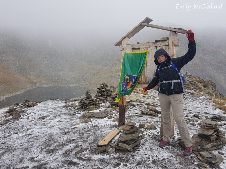 Caught out in the unpredictable weather at the summit of the Rila Lakes view point